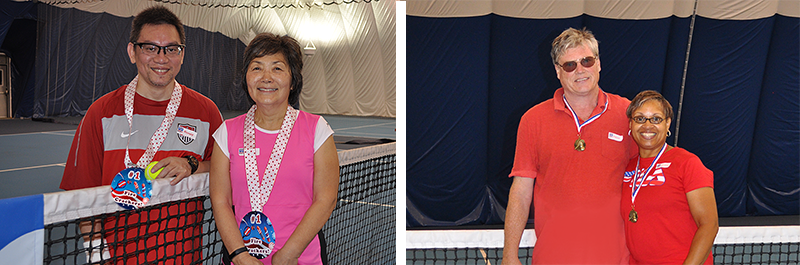 photo of tournament winners at Montgomery Tennisplex and Tennis WinWin Racquets and Rockets Adult Tennis and Fireworks Party 2017